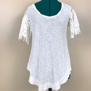 Free people white short sleeve burn out top